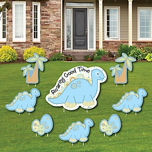 Baby Boy Dinosaur - Yard Sign & Outdoor Lawn Decorations - Baby Shower Yard Signs - Set of 8