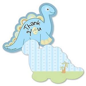 Baby Boy Dinosaur - Shaped Thank You Cards - Baby Shower or Birthday Party Thank You Note Cards with Envelopes - Set of 12