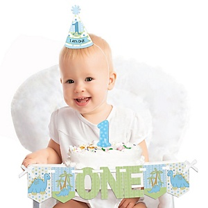 Baby Boy Dinosaur 1st Birthday - First Birthday Boy Smash Cake Decorating Kit - High Chair Decorations