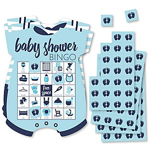 Baby Boy - Picture Bingo Cards and Markers - Blue Baby Shower Shaped Bingo Game - Set of 18