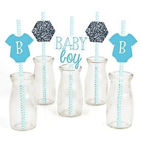 Baby Boy - Paper Straw Decor - Baby Shower Striped Decorative Straws - Set of 24