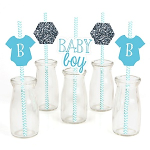 Baby Boy - Paper Straw Decor - Baby Shower Striped Decorative Straws - Set of 24