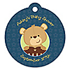Baby Boy Teddy Bear - Round Personalized Baby Shower Die-Cut Tags - 20 ct