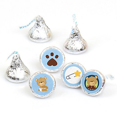 Baby Boy Teddy Bear Round Candy Labels Baby Shower Favors Fits