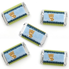 Baby Boy Teddy Bear - Mini Candy Bar Wrapper Stickers - Baby Shower Small Favors - 40 Count