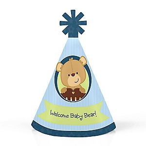 Baby Boy Teddy Bear - Personalized Mini Cone Baby Shower Party Hats - Small Little Party Hats - Set of 10