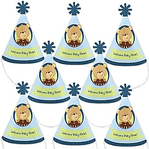 Baby Boy Teddy Bear - Mini Cone Baby Shower Party Hats - Small Little Party Hats - Set of 8
