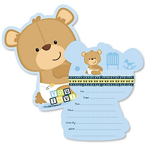 Baby Boy Teddy Bear - Shaped Fill-In Invitations - Baby Shower Invitation Cards with Envelopes - Set of 12
