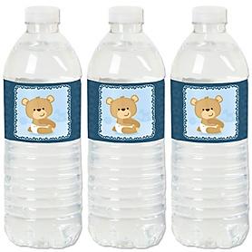 Baby Boy Teddy Bear - Baby Shower Water Bottle Sticker Labels - Set of 20