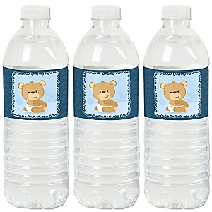 Baby Boy Teddy Bear - Baby Shower Water Bottle Sticker Labels - Set of 20