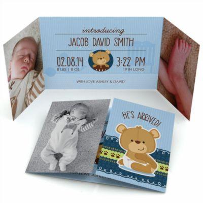 Baby Boy Teddy Bear   Photo Birth Announcements