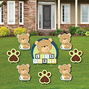 Baby Boy Teddy Bear - Yard Sign & Outdoor Lawn Decorations - Baby Shower Yard Signs - Set of 8