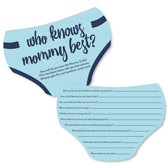 Baby Boy - Who Knows Mommy Best Cards - Blue Baby Shower Game - Set of 20