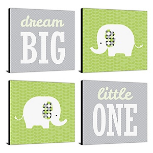 """Baby Elephant - Nursery Decor - 11"""" x 11"""" Kids Wall Art - Baby Shower Gift Ideas - Set of 4 Prints for Baby's Room"""
