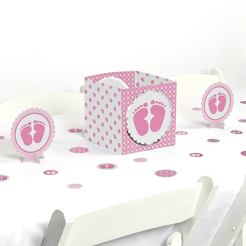 Baby Feet Pink Girl Baby Shower Centerpiece And Table Decoration Kit