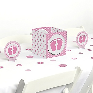 Baby Feet Pink - Girl Baby Shower Centerpiece and Table Decoration Kit