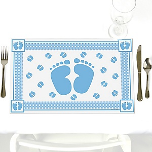 Baby Feet Blue - Party Table Decorations - Baby Shower Placemats - Set of 12