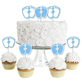 Baby Feet Blue - Dessert Cupcake Toppers - Boy Baby Shower Clear Treat Picks - Set of 24