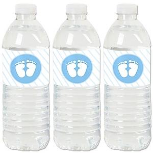 Baby Feet Blue - Boy Baby Shower Water Bottle Sticker Labels - Set of 20