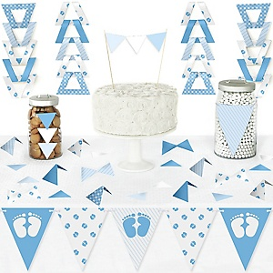Baby Feet Blue - DIY Pennant Banner Decorations - Boy Baby Shower Triangle Kit - 99 Pieces