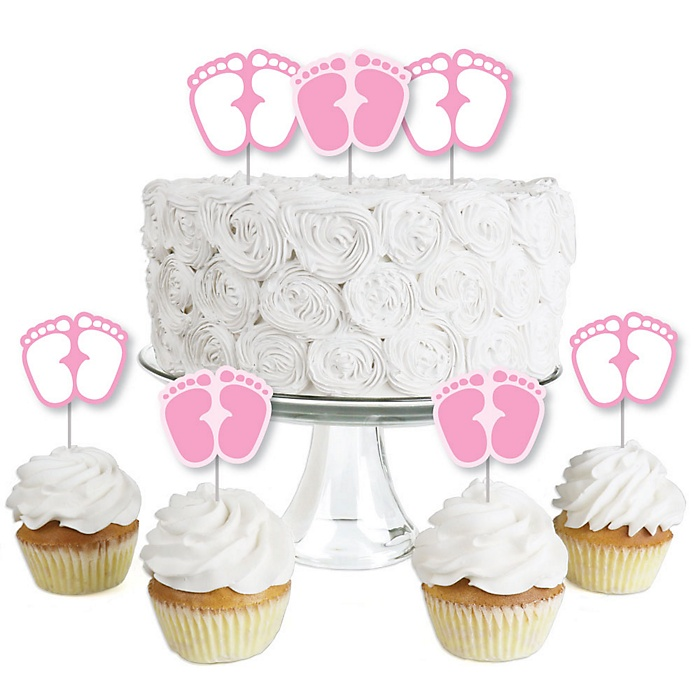 Baby Feet Pink - Dessert Cupcake Toppers - Girl Baby Shower Clear Treat Picks - Set of 24