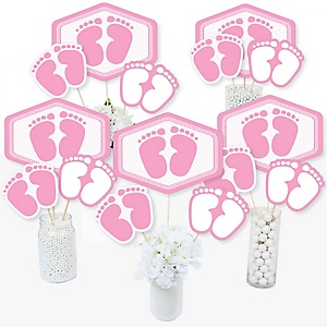 Baby Feet Pink - Girl Baby Shower Centerpiece Sticks - Table Toppers - Set of 15