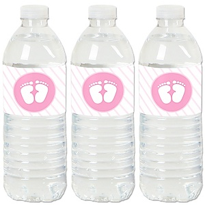 Baby Feet Pink - Girl Baby Shower Water Bottle Sticker Labels - Set of 20