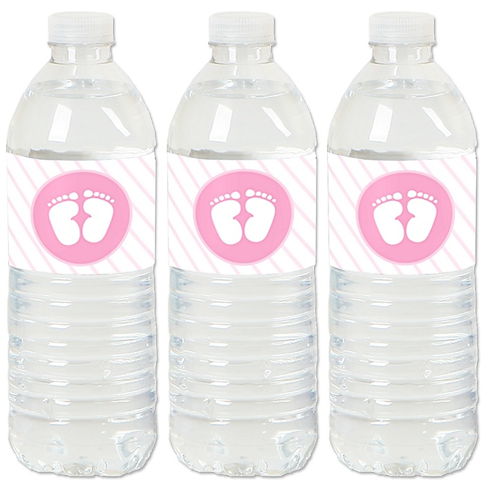 Baby Feet Pink - Girl Baby Shower Water Bottle Sticker Labels - Set of 20