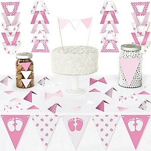 Baby Feet Pink - DIY Pennant Banner Decorations - Girl Baby Shower Triangle Kit - 99 Pieces
