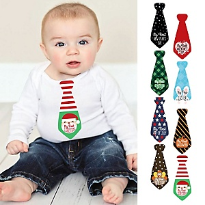 Baby's First Holidays Milestone Necktie Stickers - Christmas