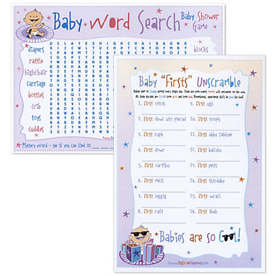 Baby Firsts Unscramble & Word Search - Baby Shower Game ...