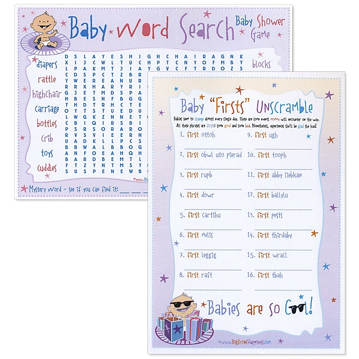 Baby First Unscramble & Word Search - Baby Shower Two in One Game - 18 ct