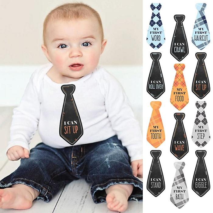 Tie Baby's First Milestone Monthly Stickers - Baby Shower Gift Ideas - Necktie 12 Piece