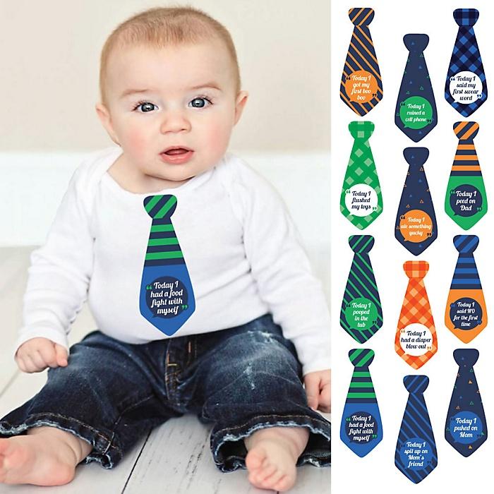 Tie Baby's First Funny Milestone Monthly Stickers - Baby Shower Gift Ideas - Necktie 12 Piece