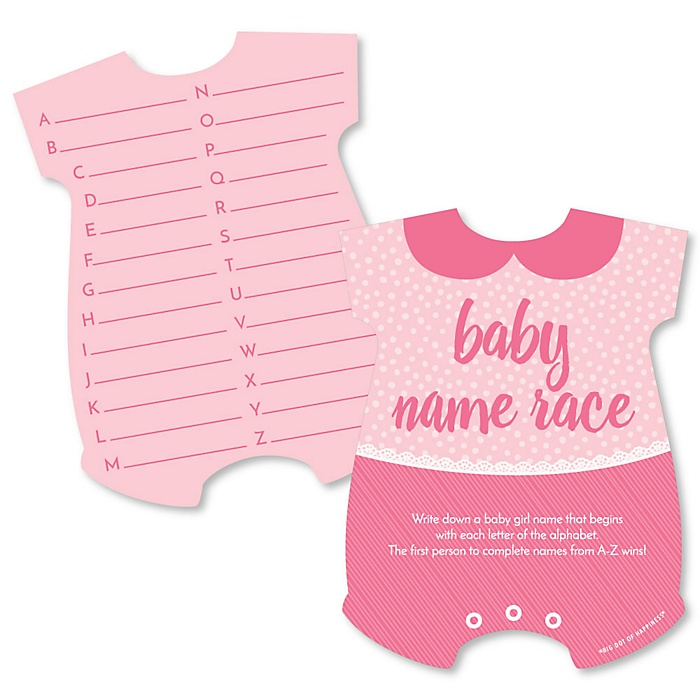 Baby Girl - Baby Name Race Cards - Pink Baby Shower Game - Set of 20