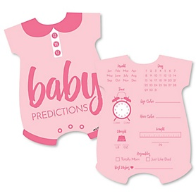 Baby Girl - Baby Prediction Cards - Pink Baby Shower Game - Set of 20
