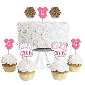 Baby Girl - Dessert Cupcake Toppers - Baby Shower Clear Treat Picks - Set of 24