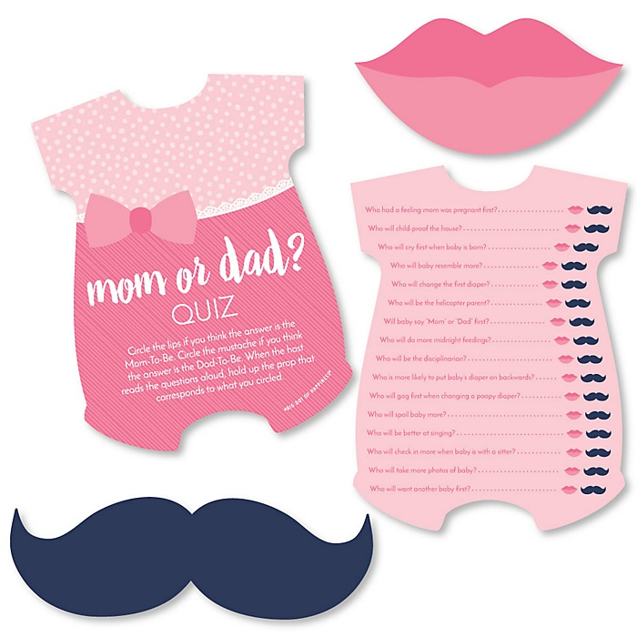 Baby Girl - Mom or Dad Quiz Cards with Mustache and Lip Cutouts - Pink Baby Shower Game - Set of 20