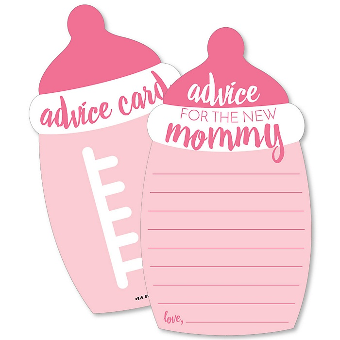 Baby Girl - Pink Bottle Wish Card Baby Shower Activities - Shaped Advice Cards - Set of 20