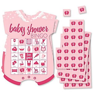 Baby Girl - Picture Bingo Cards and Markers - Pink Baby Shower Shaped Bingo Game - Set of 18
