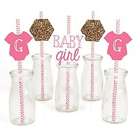 Baby Girl - Paper Straw Decor - Baby Shower Striped Decorative Straws - Set of 24