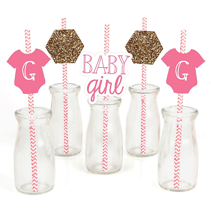 Baby Girl - Paper Straw Decor - Baby Shower Striped Decorative Straws - Set of 24