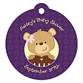 Baby Girl Teddy Bear - Round Personalized Baby Shower Die-Cut Tags - 20 ct