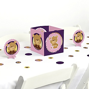 Baby Girl Teddy Bear - Baby Shower Centerpiece and Table Decoration Kit