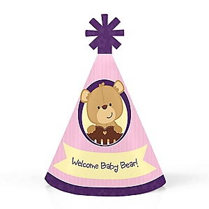 Baby Girl Teddy Bear - Personalized Mini Cone Baby Shower Party Hats - Small Little Party Hats - Set of 10