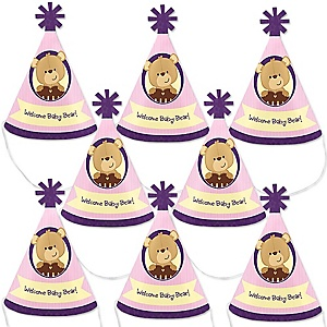 Baby Girl Teddy Bear - Mini Cone Baby Shower Party Hats - Small Little Party Hats - Set of 8