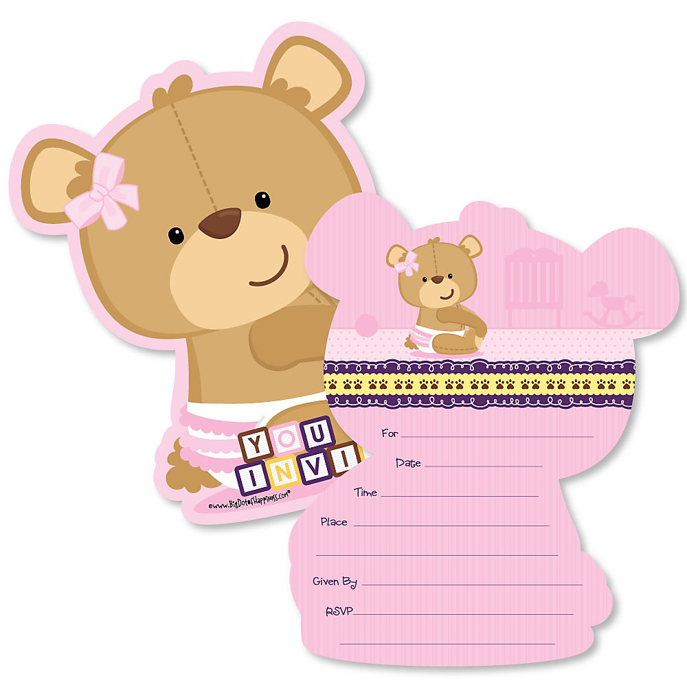 Baby Girl Teddy Bear Shaped Fill In Invitations Baby Shower Invitation Cards With Envelopes Set Of 12
