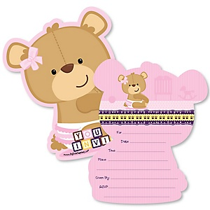 Baby Girl Teddy Bear - Shaped Fill-In Invitations - Baby Shower Invitation Cards with Envelopes - Set of 12