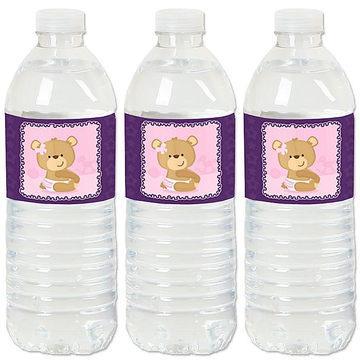 Baby Girl Teddy Bear - Baby Shower Water Bottle Sticker Labels - Set of 20