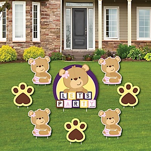 Baby Girl Teddy Bear - Yard Sign & Outdoor Lawn Decorations - Baby Shower Yard Signs - Set of 8